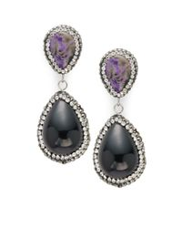 Kevia | Black Crystal Studded Drop Earrings | Lyst