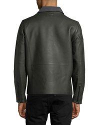 Calvin Klein - Gray Asymmetrical Zip Leather Jacket for Men - Lyst