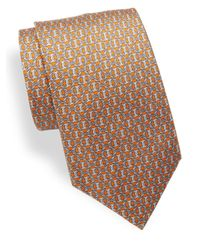Brioni - Orange Printed Silk Tie for Men - Lyst