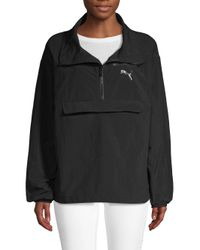 PUMA Black Half-zip Windbreaker Jacket