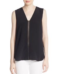 Vince - Black Perforated Leather-trimmed Silk Top - Lyst