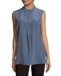 Peserico Blue Sleeveless Silk Top