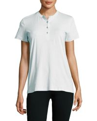 Helmut Lang - Blue Solid Cotton Henley Tee - Lyst