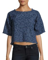 Calvin Klein Jeans - Blue Frayed Cotton Crop Top - Lyst