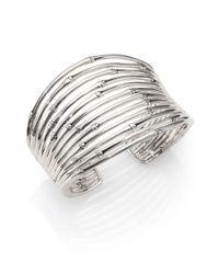 John Hardy Metallic Bamboo Sterling Silver Wide Cuff Bracelet