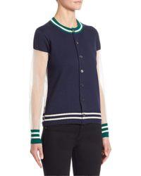 Junya Watanabe - Blue Striped Knit Cardigan - Lyst