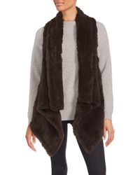 Saks Fifth Avenue Black Asymmetrical Rabbit Fur Vest