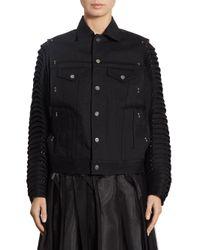 Noir Kei Ninomiya Black Accordion Sleeve Denim Moto Jacket