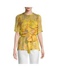 Walter Baker Yellow Floral-print Tie Top