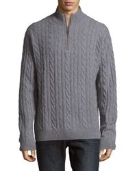 Saks Fifth Avenue - Gray Half-zip Cashmere Sweater for Men - Lyst