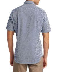 Saks Fifth Avenue Blue Collection Short Sleeve Seersucker Polka Dot Shirt for men