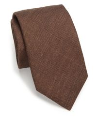Saks Fifth Avenue Brown Solid Plaid Silk & Wool Tie for men
