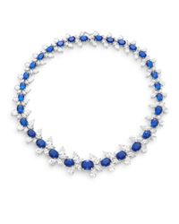 CZ by Kenneth Jay Lane - White & Blue Stone Cluster Collar Necklace/silvertone - Lyst