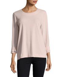 Karl Lagerfeld Pink Flounce-sleeve Top