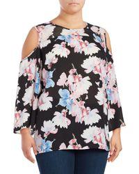 Vince Camuto Black Plus Floral-print Long-sleeve Cold-shoulder Top