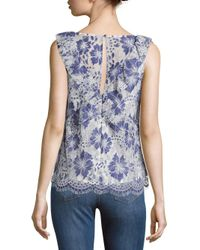 French Connection - Blue Antonia Lace Floral Top - Lyst