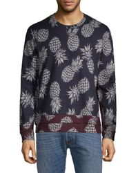 Valentino Blue Pineapple-print Two-tone Sweater for men
