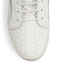 Giuseppe Zanotti White Snake & Croc-embossed Leather Sneakers