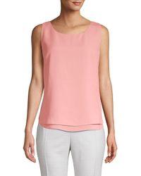 Donna Karan Pink Sleeveless Overlay Blouse