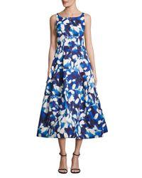 MILLY Blue Petal-print Midi Dress