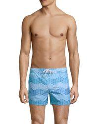 2xist Blue Wavy Fish Swim Shorts for men