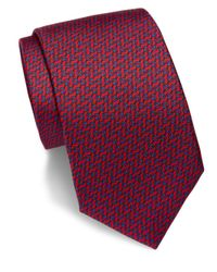 Saks Fifth Avenue - Red Printed Silk Tie for Men - Lyst