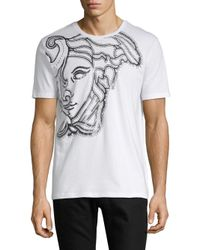 Versace White Medusa Head-print Cotton Tee for men