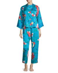 Natori Blue Manila Mandarin Pajama Set