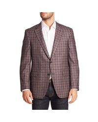 Saks Fifth Avenue Gray Samuelsohn Classic-fit Plaid Wool & Cashmere Sportcoat for men