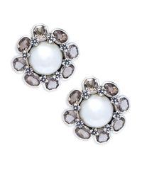 Stephen Dweck - White Mabé Pearl, Smoky Topaz & Sterling Silver Stud Earrings - Lyst