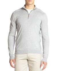 Saks Fifth Avenue Gray Silk-blend Quarter-zip Sweater for men