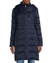 T Tahari - Blue Hooded Down Parka - Lyst