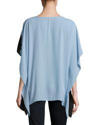 Vince Camuto Blue Colorblock Caftan-sleeve Top