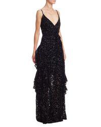 ML Monique Lhuillier Black Tiered Velvet Burnout Gown