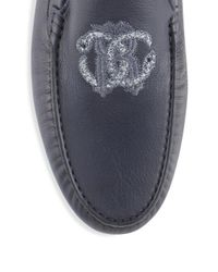 Roberto Cavalli - Blue Logo-accented Leather Drivers for Men - Lyst