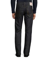 True Religion - Blue Slim-fit Run-stitch Moto Jeans for Men - Lyst