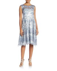 Kay Unger - Blue Embroidered & Embellished Illusion-top Dress - Lyst