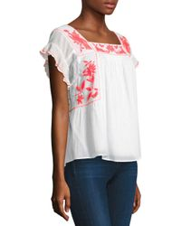 Joie Women's Cleavon Embroidered Gauze Blouse - Clean White Salsa