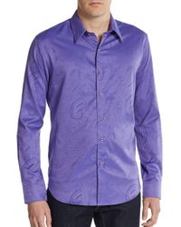 Robert Graham - Purple Pyramid Slim-fit Sportshirt for Men - Lyst