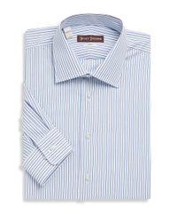 Hickey Freeman Blue Striped Cotton Dress Shirt for men