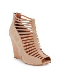 Rebecca Minkoff - Natural Sydney Nubuck Leather Wedge Sandals - Lyst