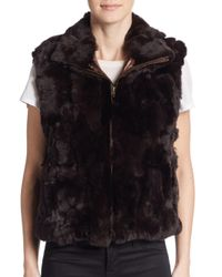 Saks Fifth Avenue - Brown Rex Rabbit Fur Vest - Lyst