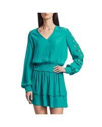 Ramy Brook Blue Starling Embellished-sleeve Dress