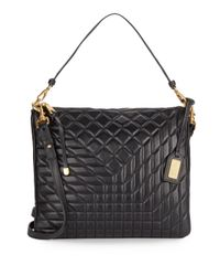 Badgley Mischka - Black Clarissa Quilted Leather Convertible Clutch - Lyst