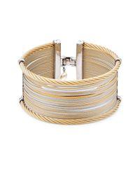 Alor - Metallic Classique Wide Steel & 18k Gold Cuff Bracelet - Lyst