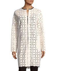 MSGM White Cutout Cotton Coat