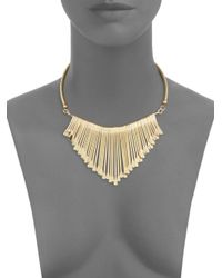 Kenneth Jay Lane - Metallic Polished Goldtone Bib Necklace - Lyst