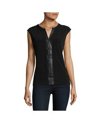 Calvin Klein Natural Faux Leather-accented Top