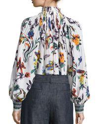 Tibi Blue Gothic Floral Silk-blend Edwardian Top