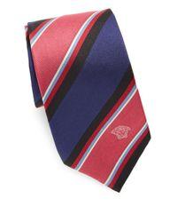 Versace Blue Wide Stripe Silk Tie for men